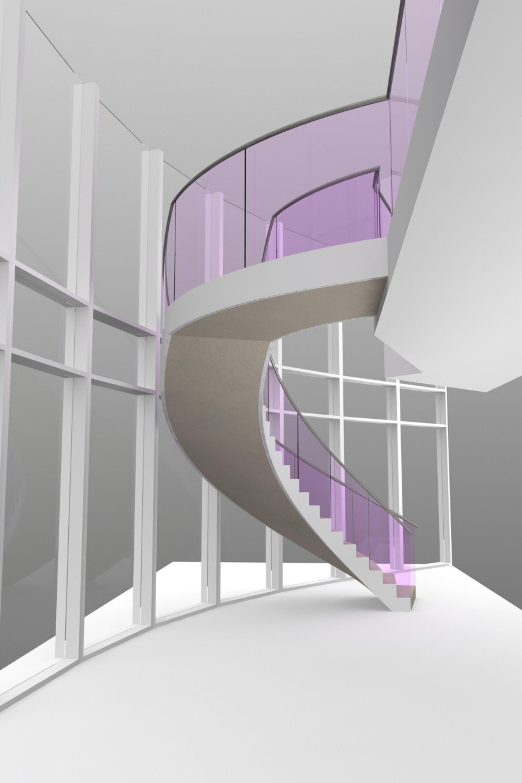 Draft render of elliptical stairs