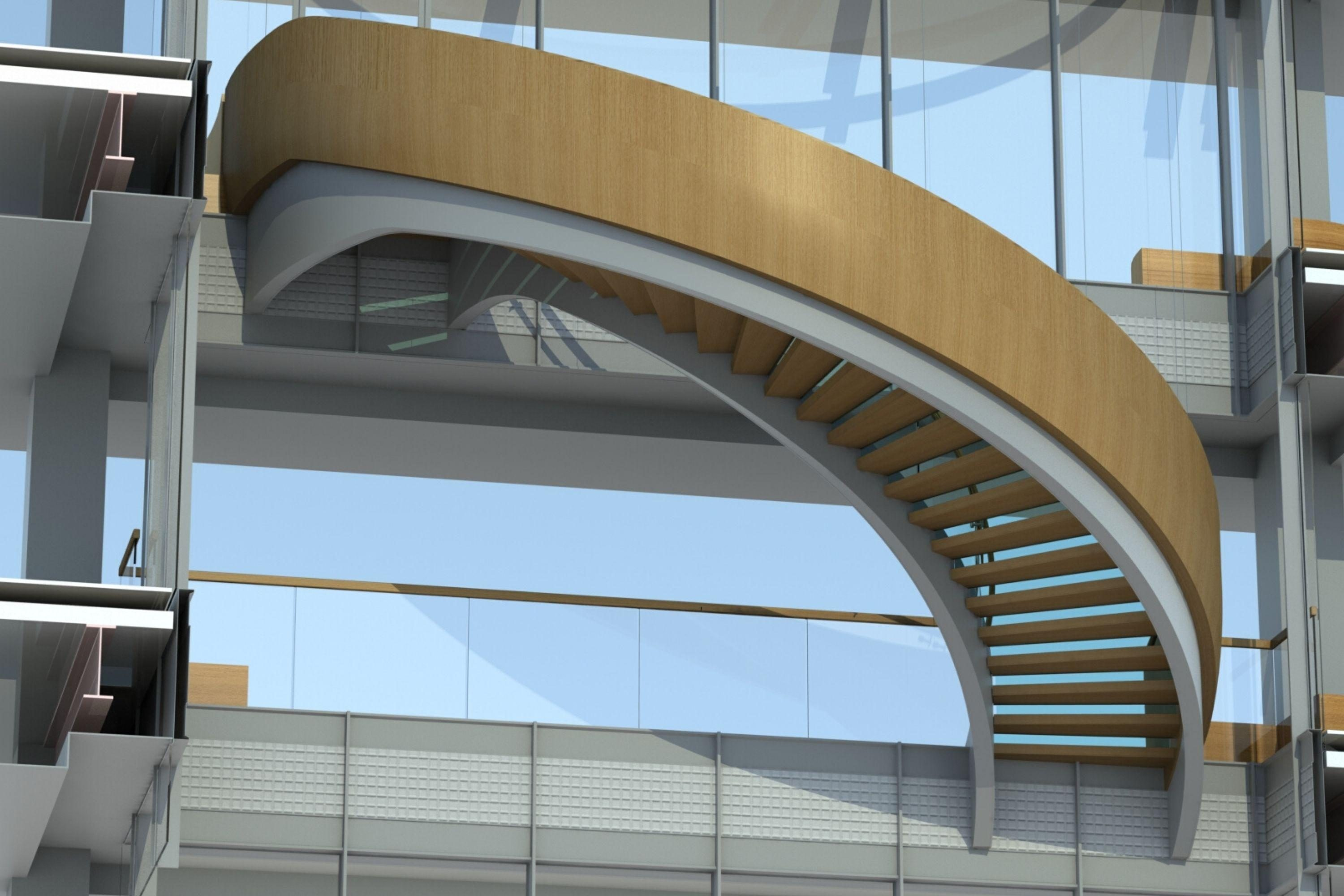 Render of helical staircase