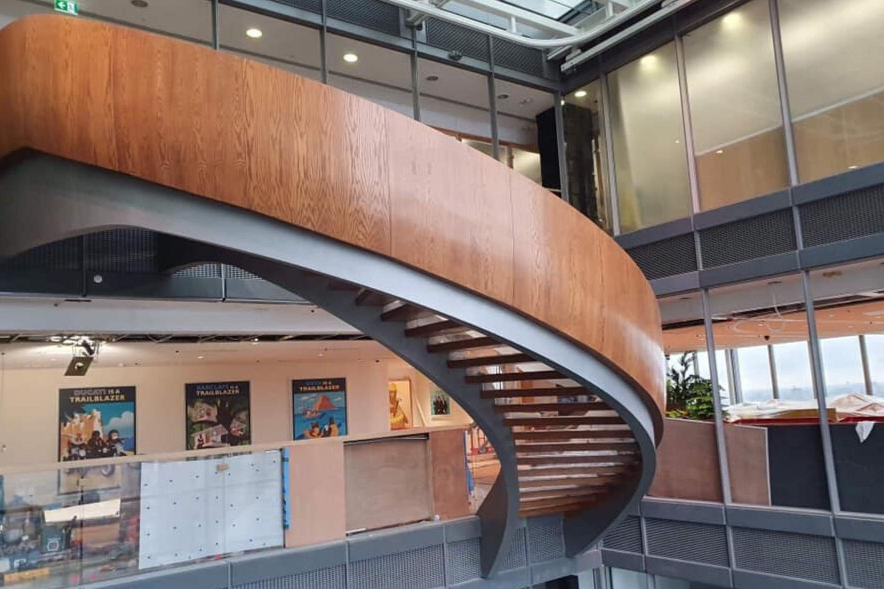 Timber clad helical staircase