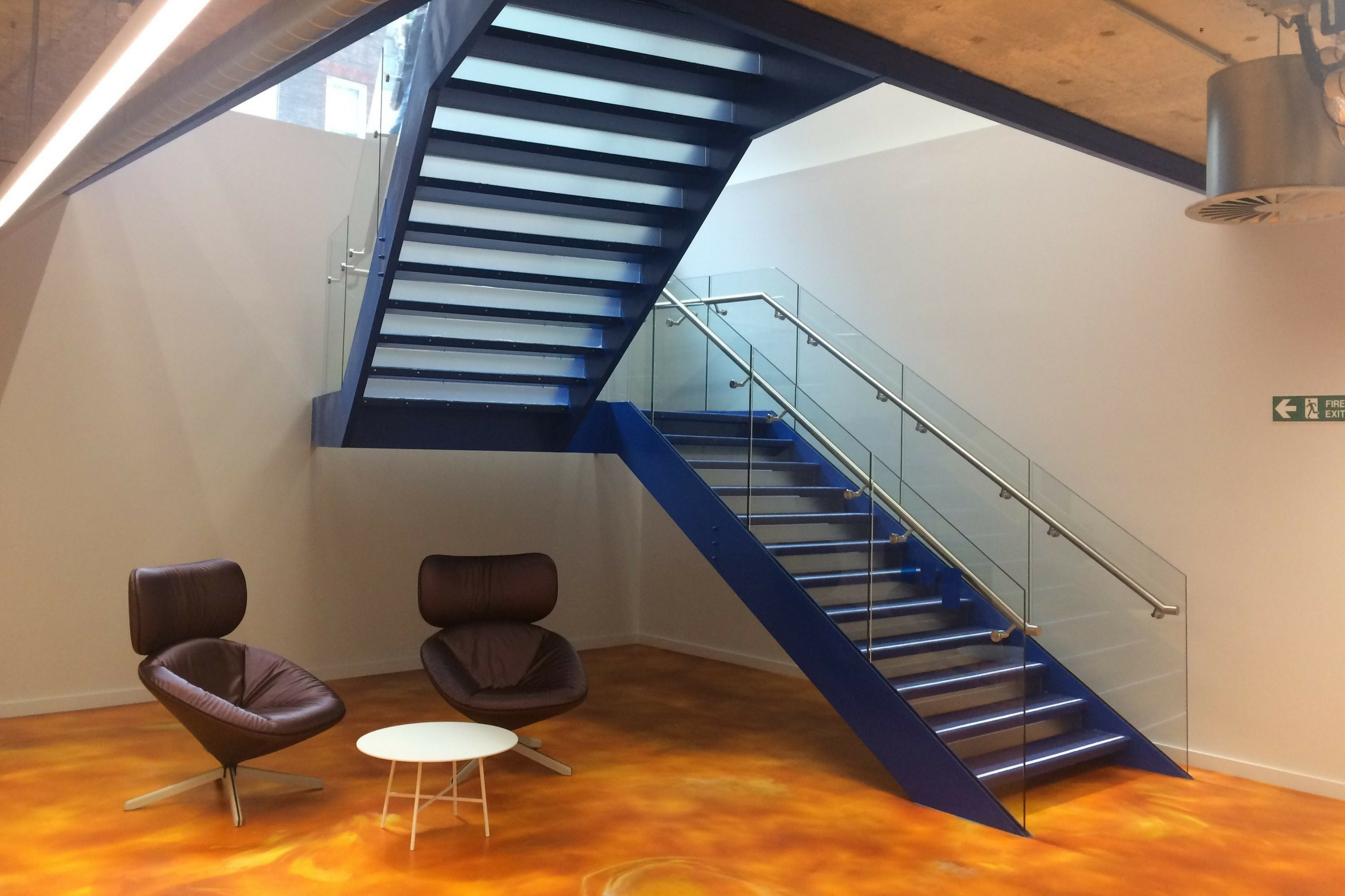 tapered straight flight office fit out stair