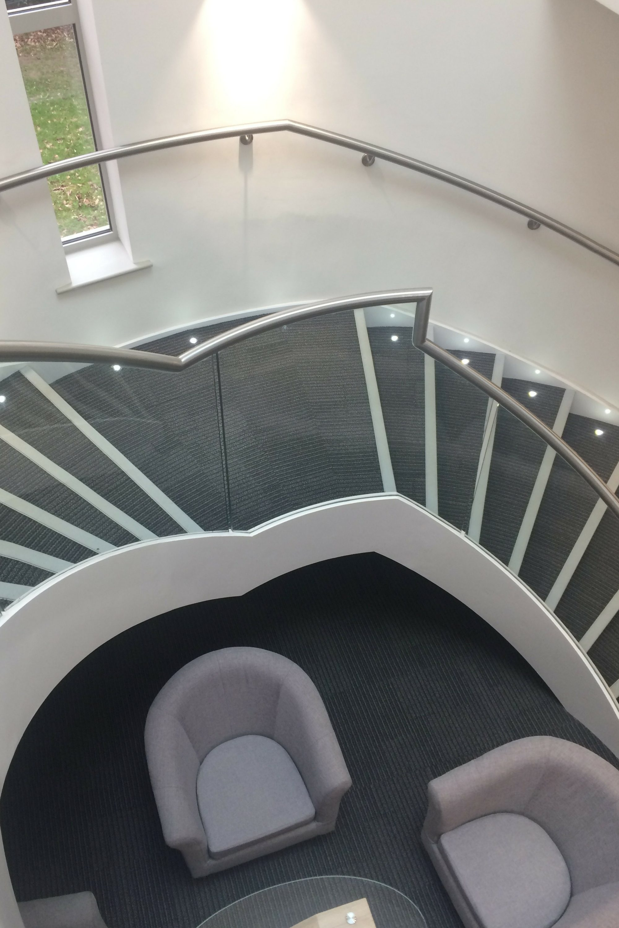 Helical staircase in a school