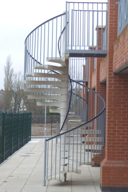 External concrete fire escape stair
