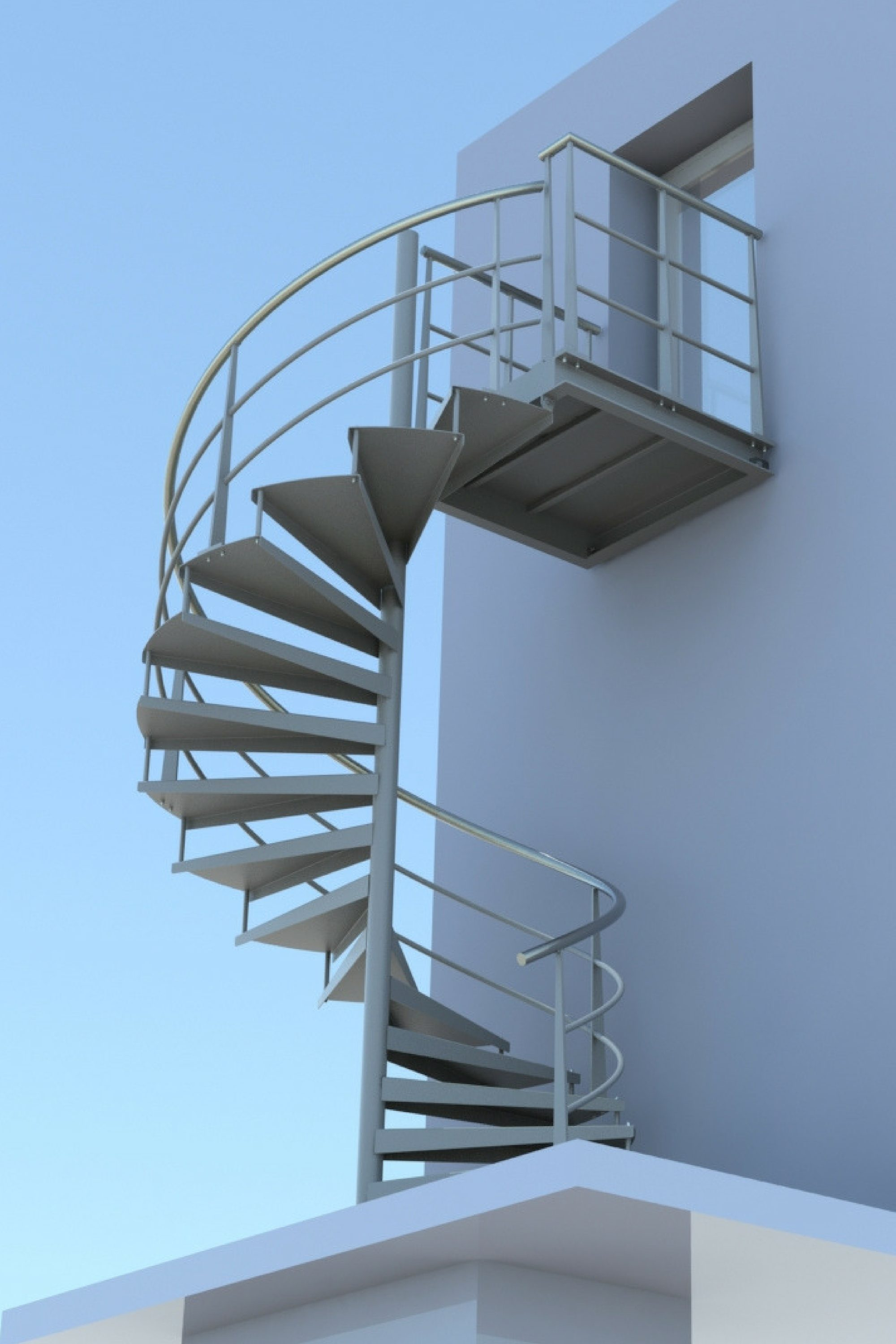 Render of spiral escape staircase