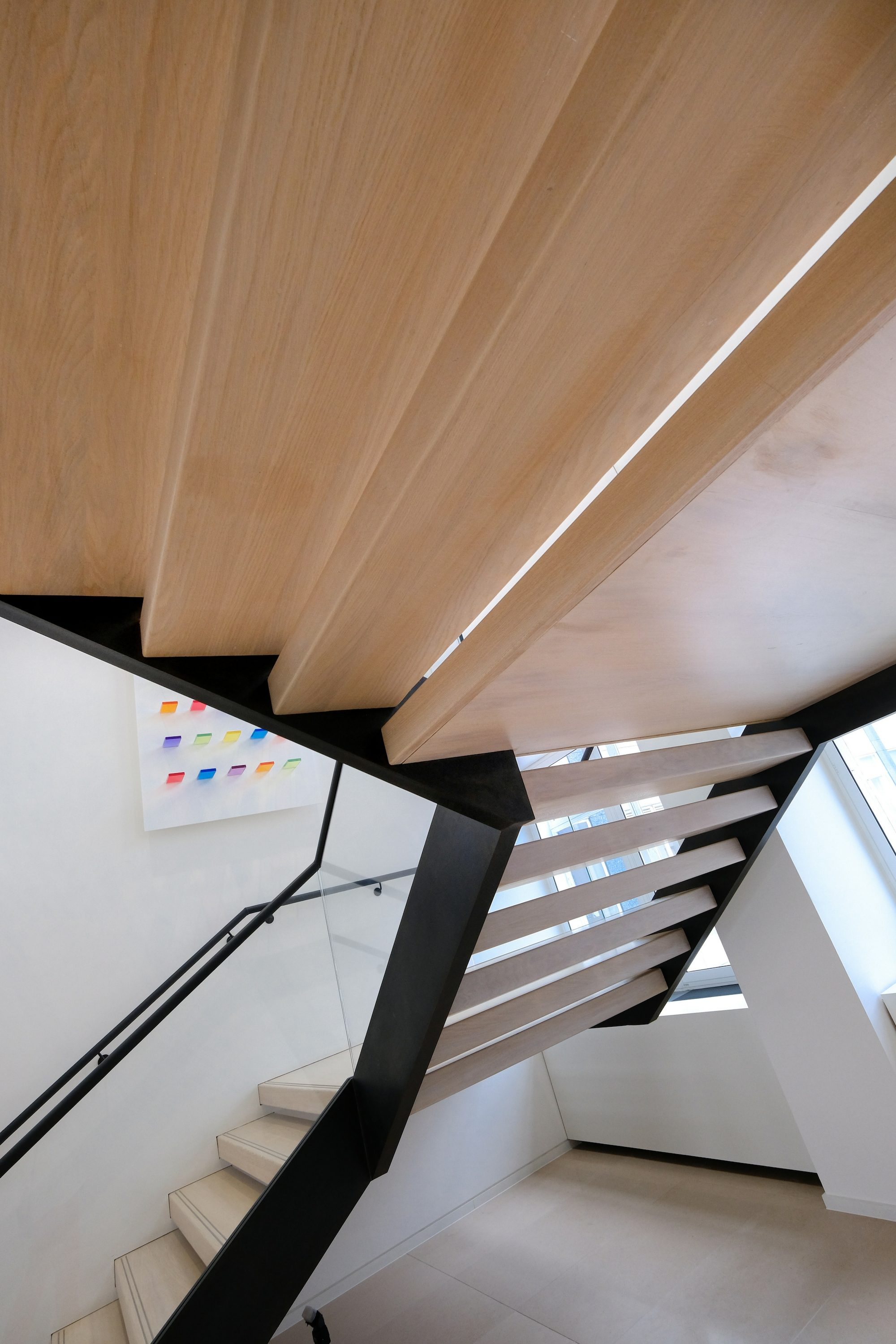 View from below straight stair
