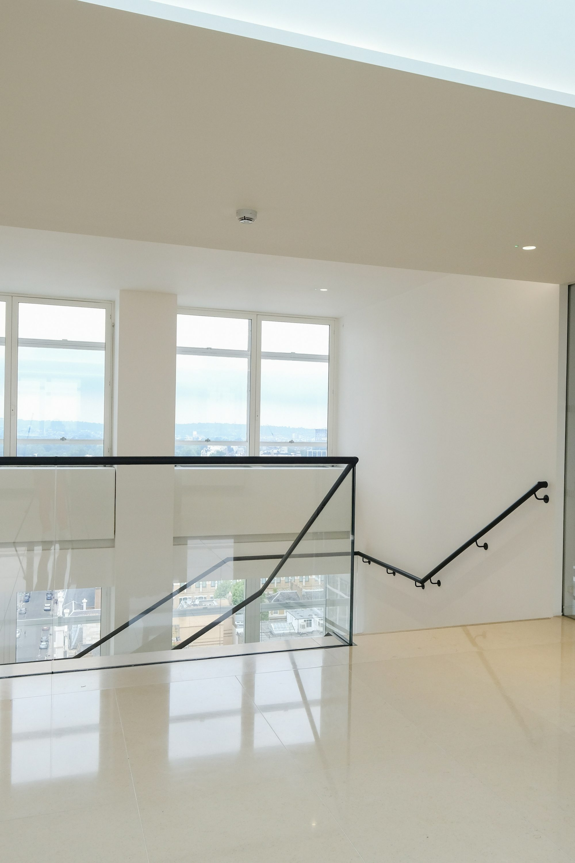 Glass balustrade and leather clad handrail