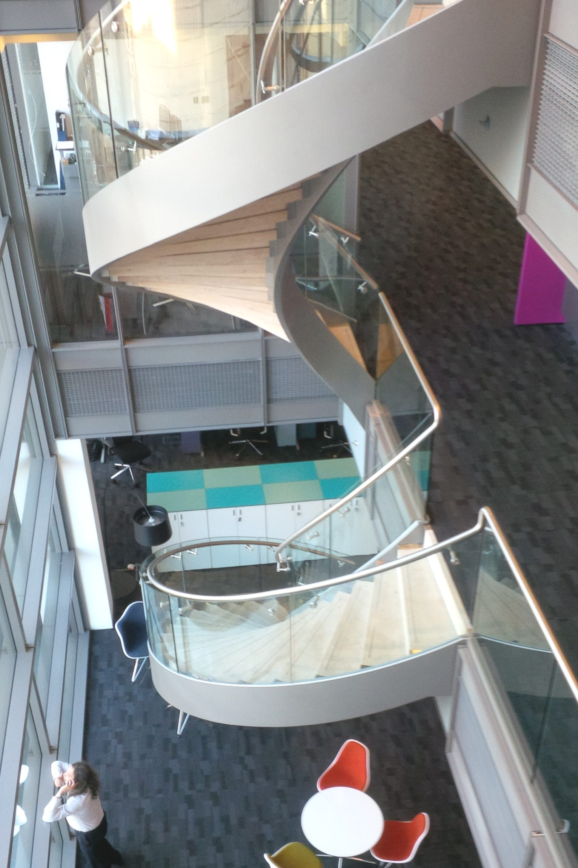 Double flight helical fit out staircase