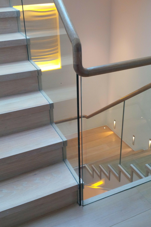 Glass balustrade on staircase