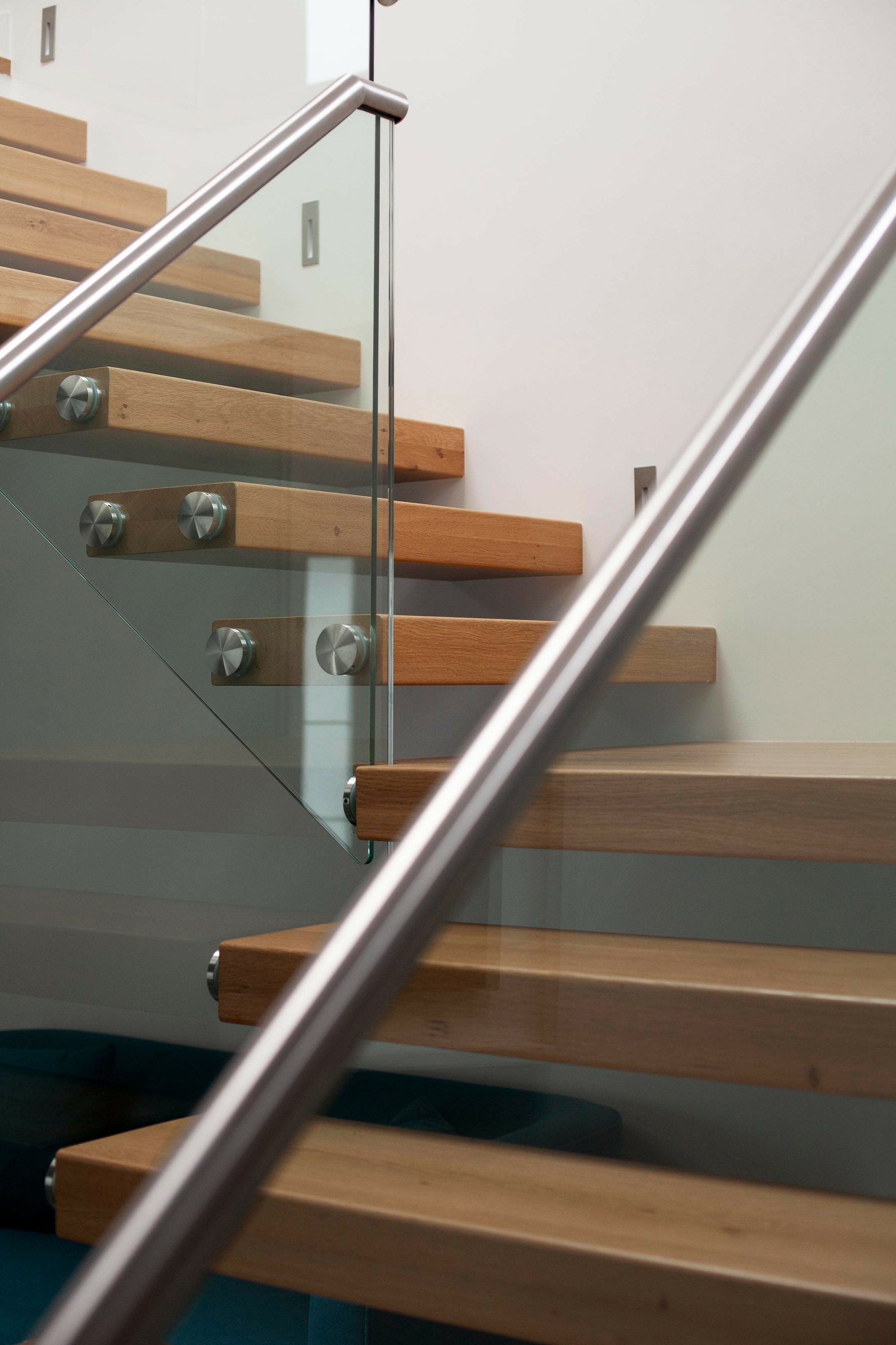 timber treads on cantilever staircase