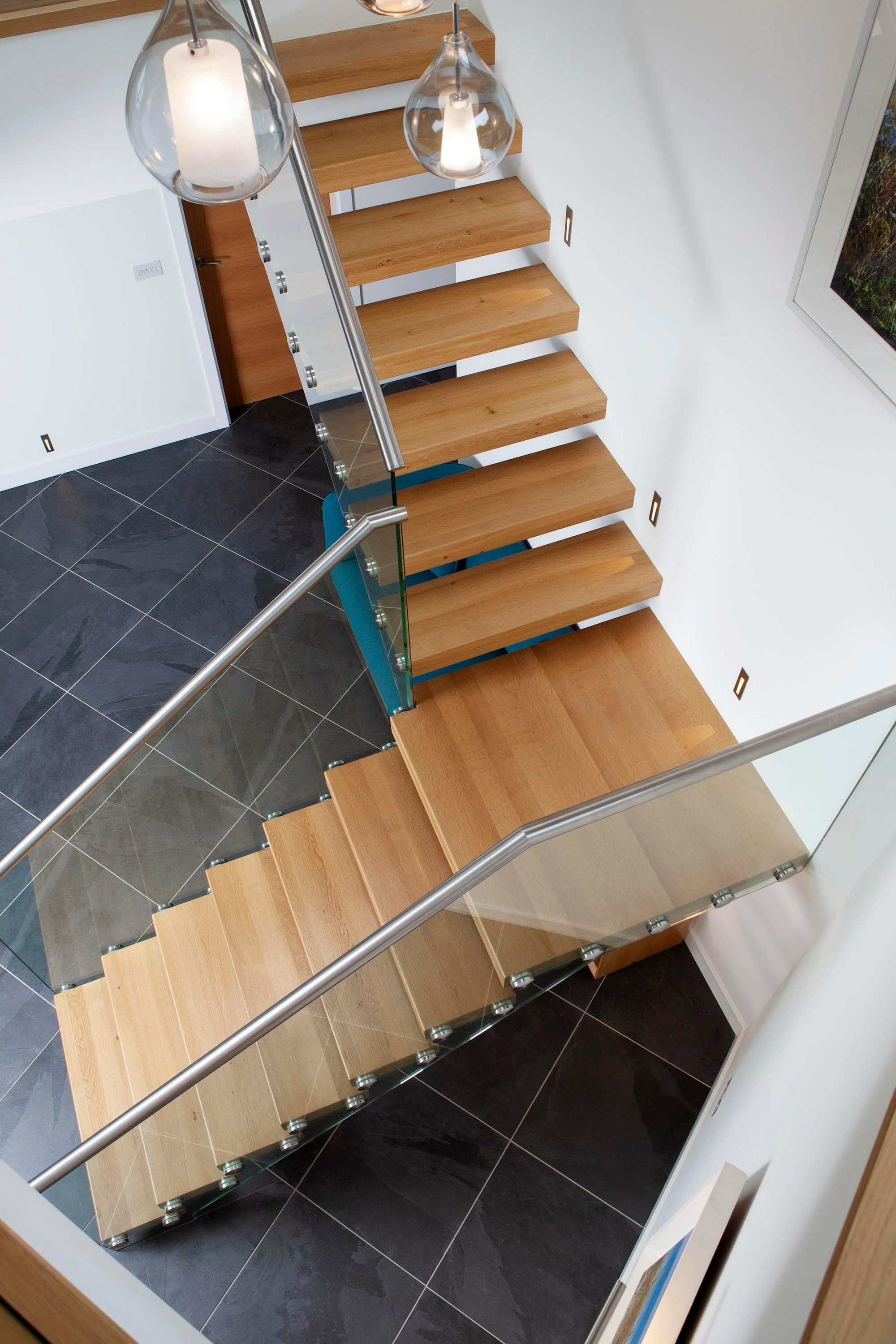 Looking down on timber tread cantilever stair