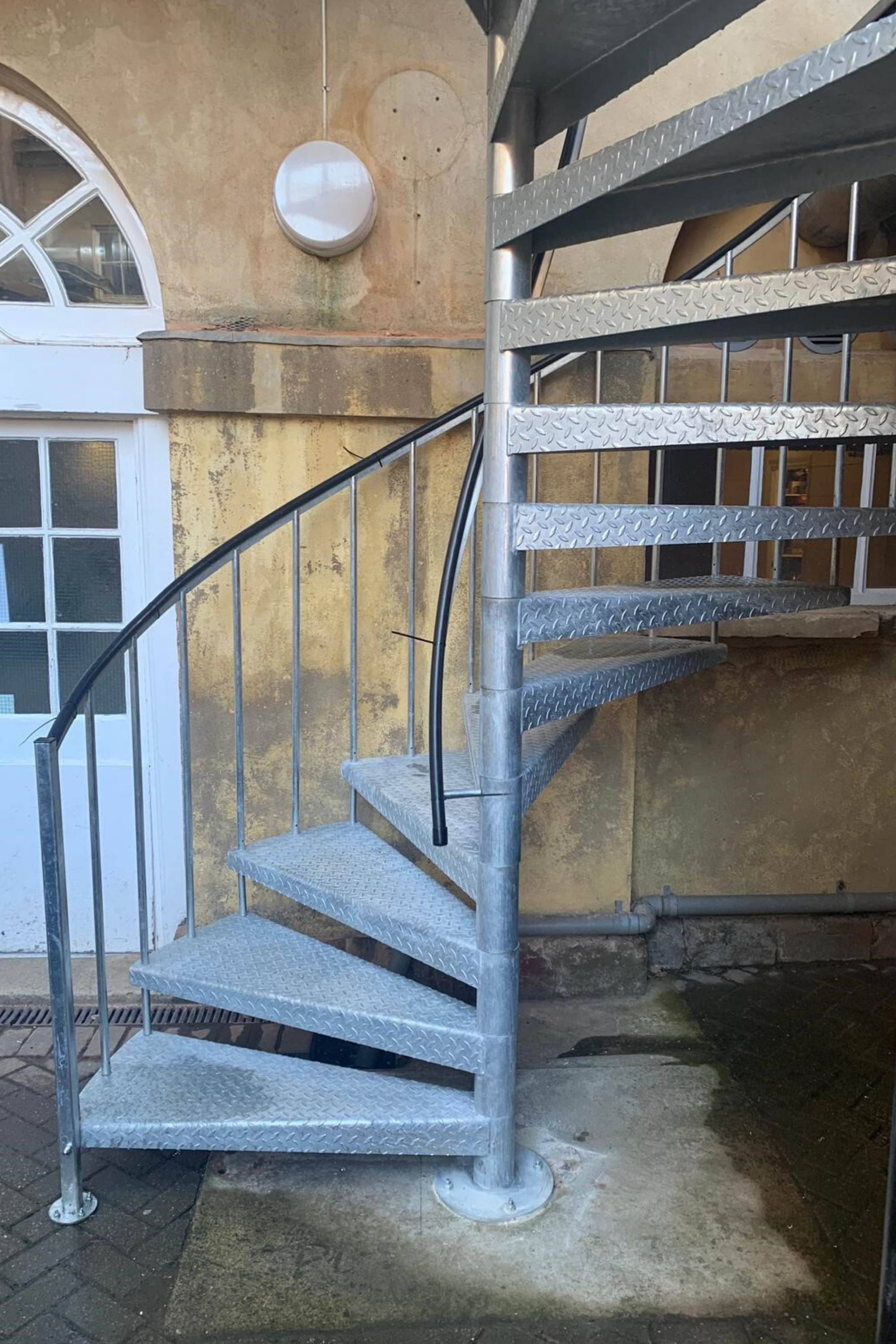 Galvanised external fire escape stair
