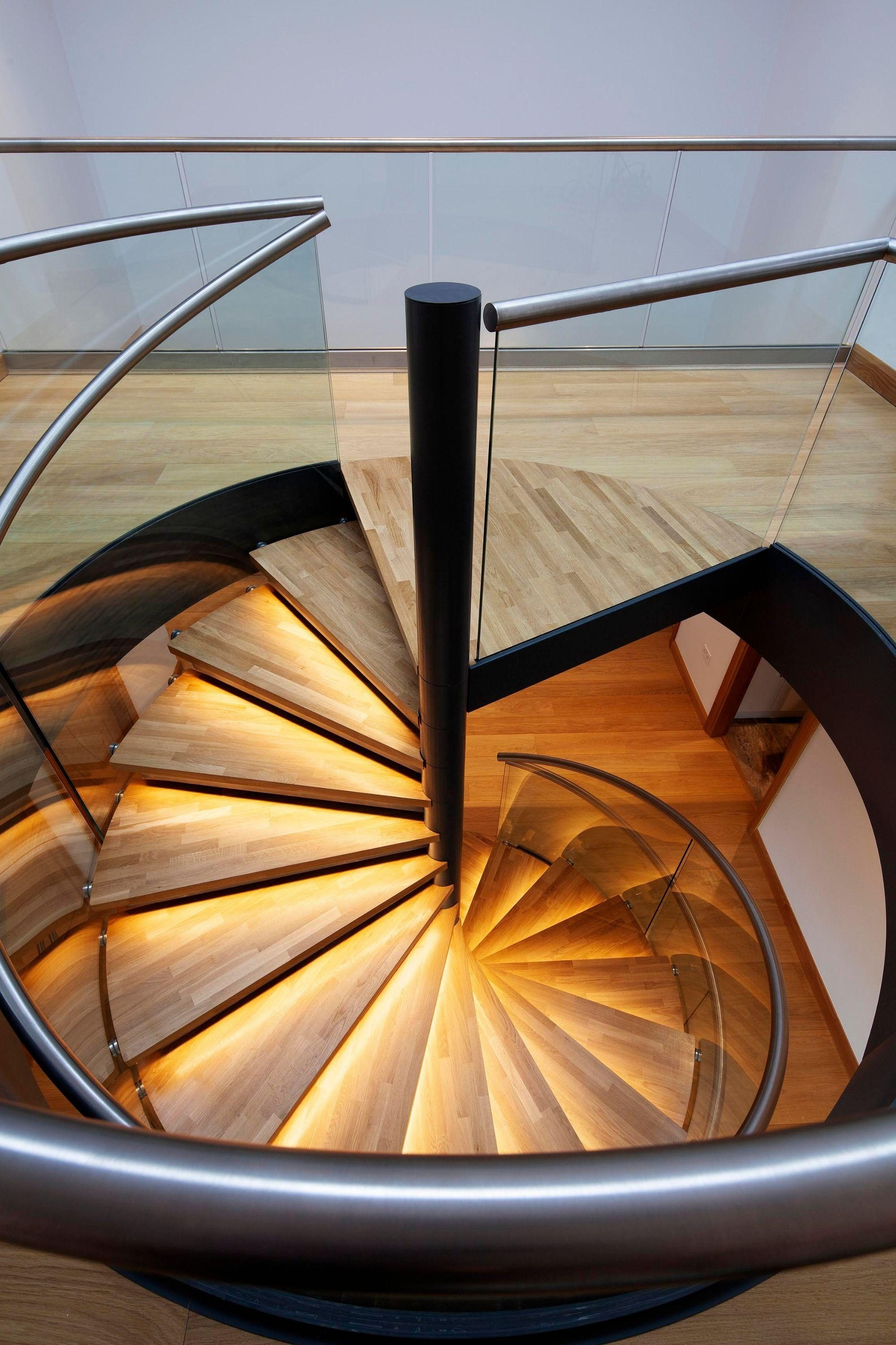 LED lights on luxury spiral stairs