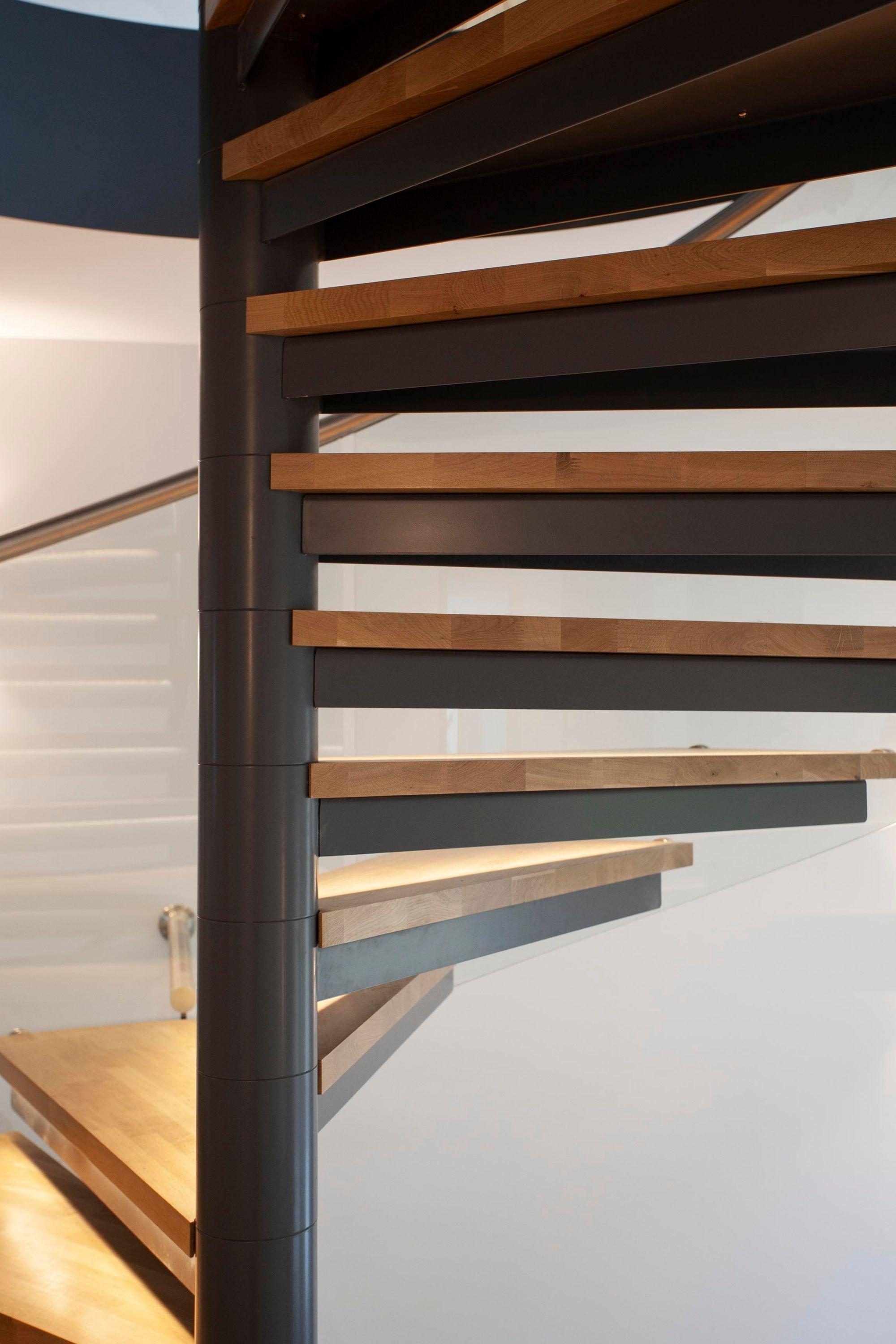 spiral staircase with oak treads