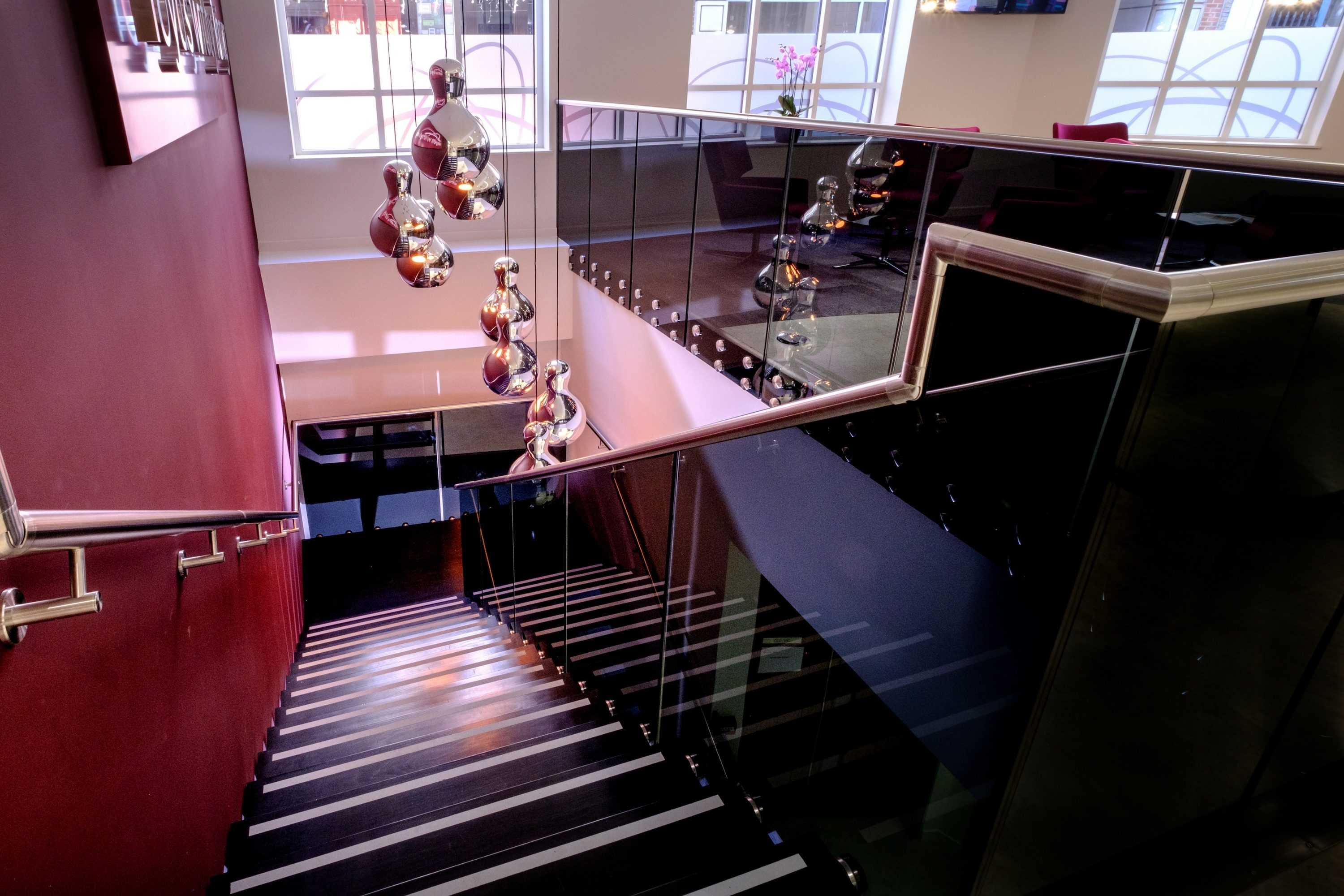 Straight office stair balustrade