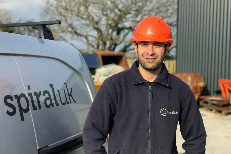 Spiral UK installer in front of van