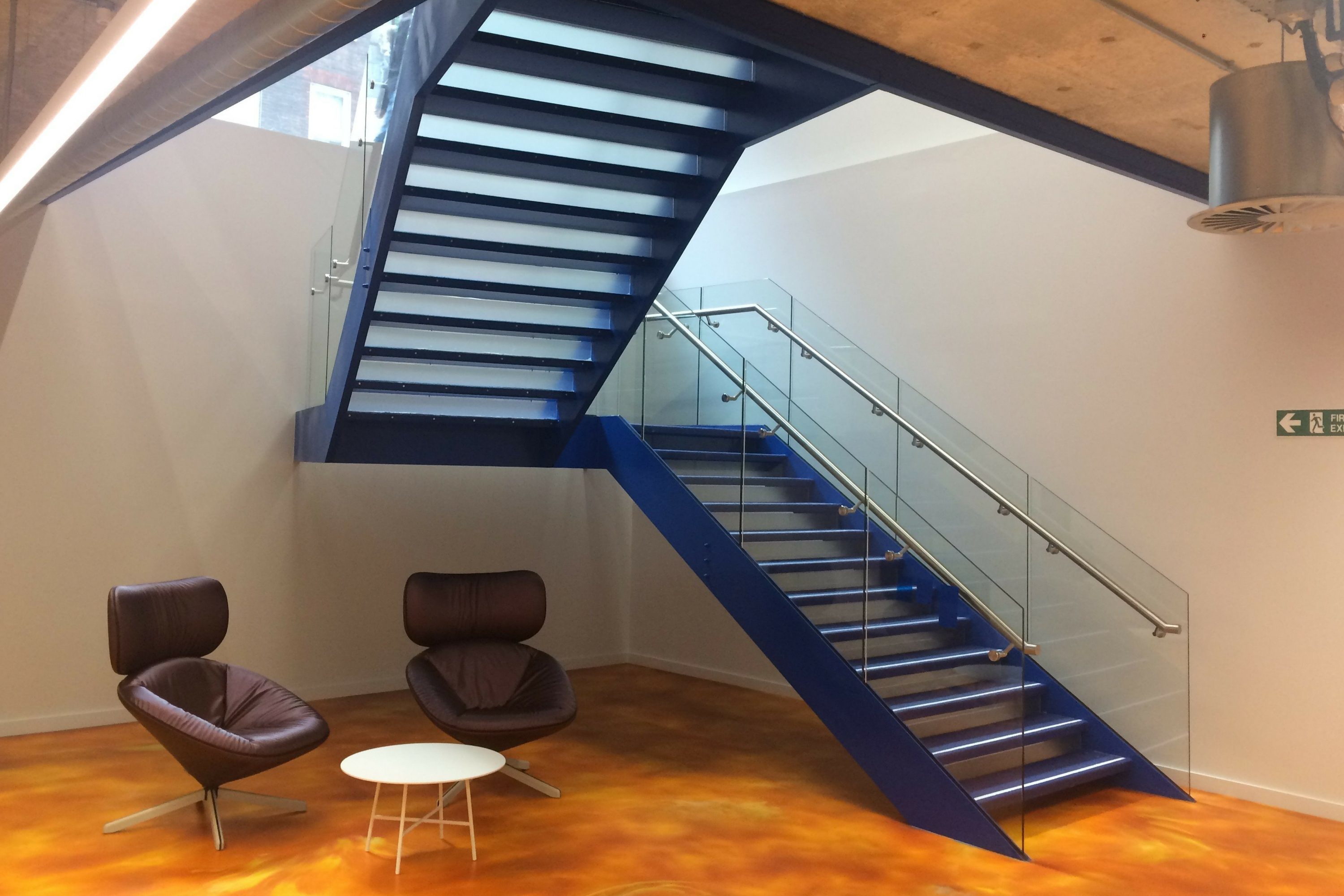 Blue powder coated finish on staircase